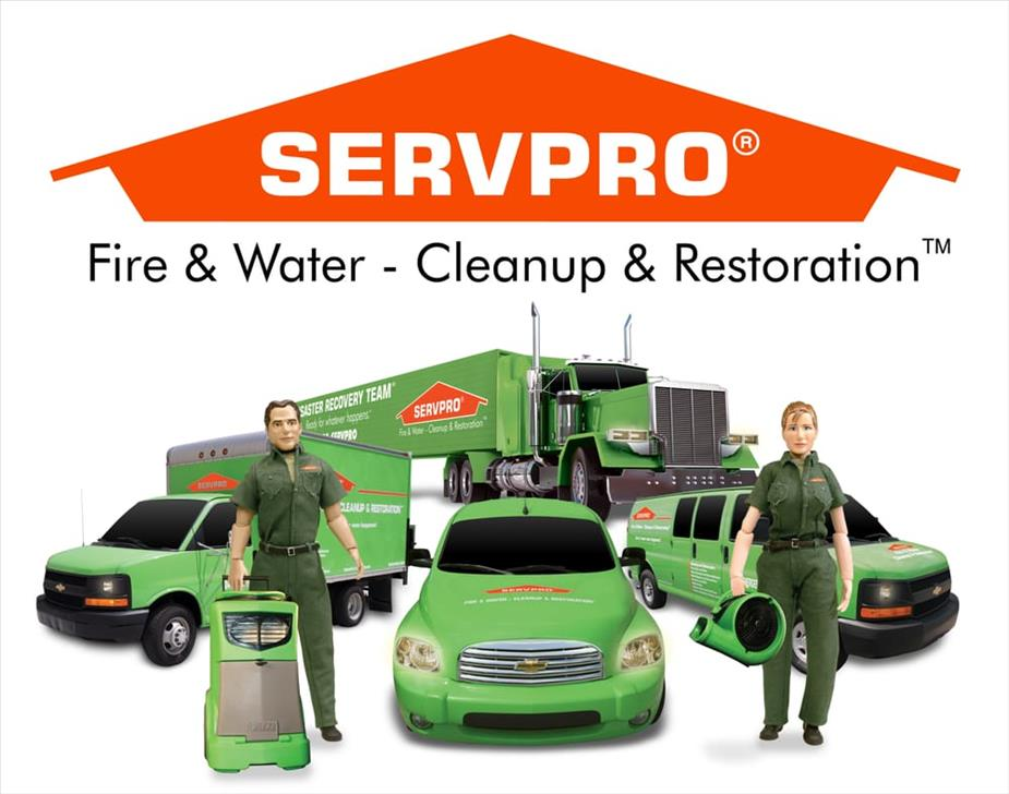 SERVPRO techs with equipment and trucks